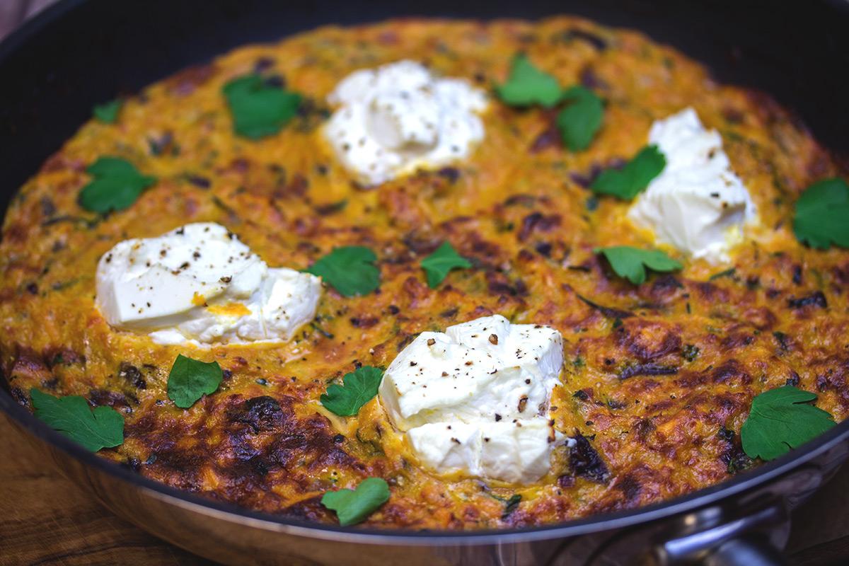 Rezept: Frittata mit Süßkartoffeln und Ziegenkäse