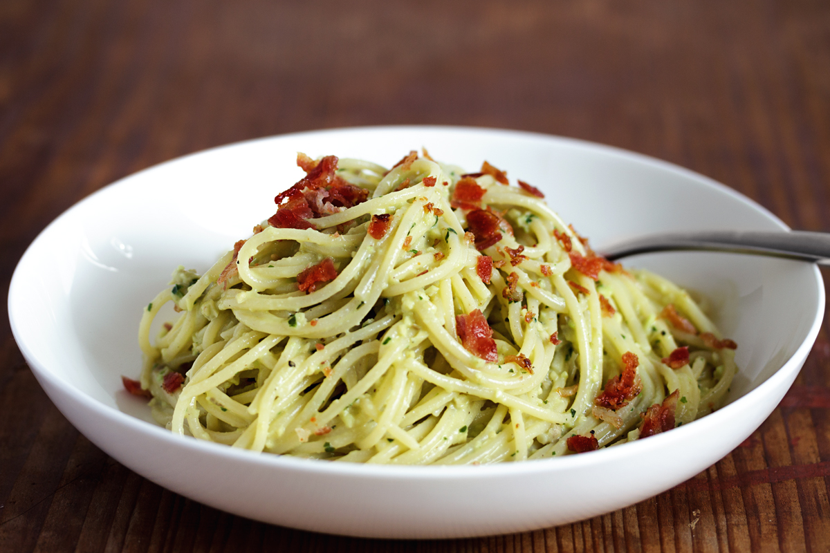 Spaghetti Avocado Carbonara