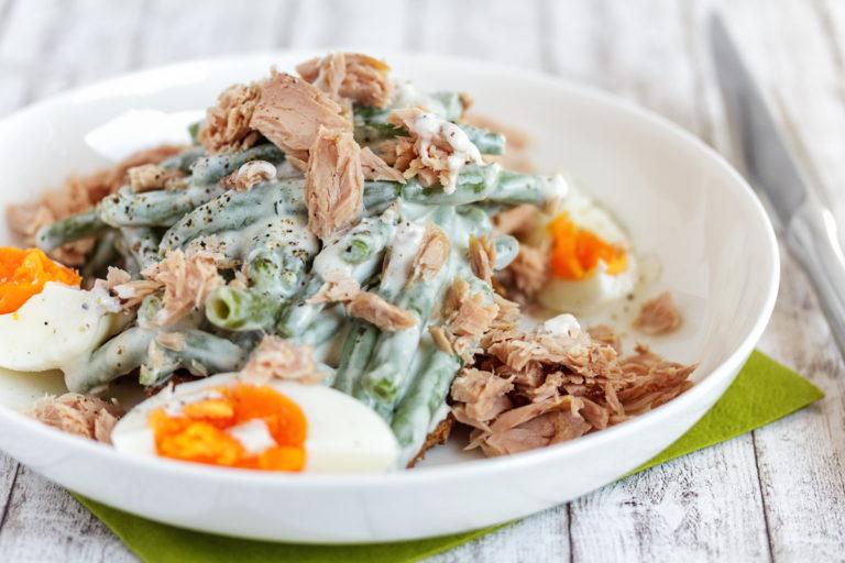 Thunfisch Bohnen Salat mit Joghurt Dressing