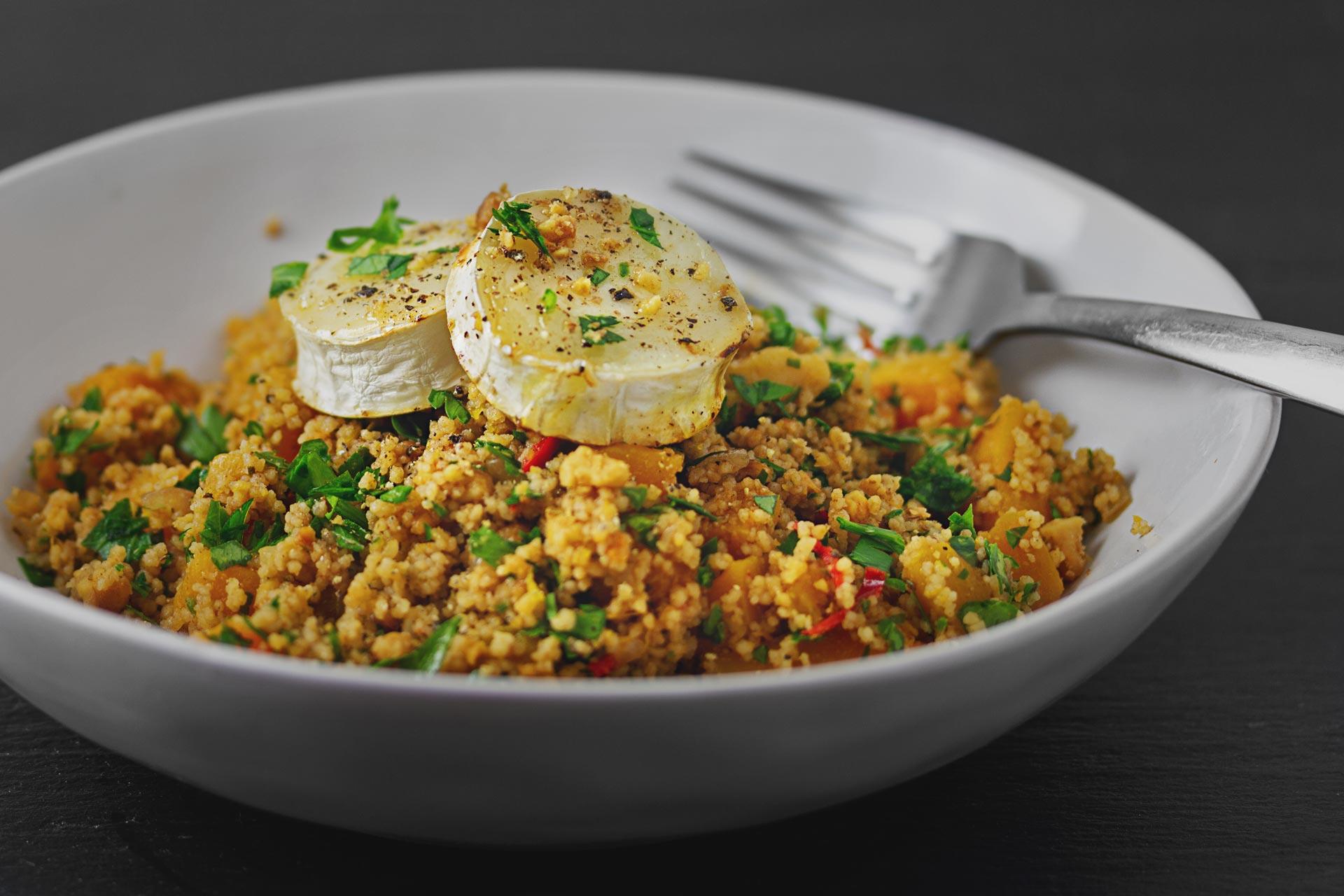 Couscous mit Butternusskürbis und Ziegenkäse